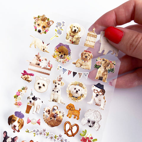 Vintage Paris Cute Dog Floral Party Plastic Sticker Sheet - SweetpeaStore