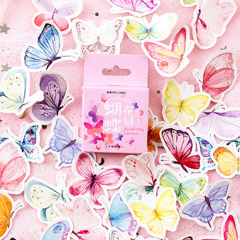 Set of 46 Pretty Watercolour Butterfly Pink Mini Box Stickers - SweetpeaStore