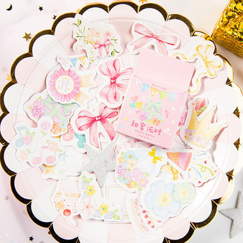 46 Pretty Pink Party Watercolour Mini Box Stickers - SweetpeaStore