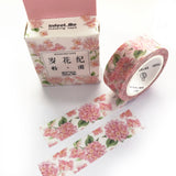 7m x 15mm Pretty Hydrangea Pink Floral Washi Tape - SweetpeaStore