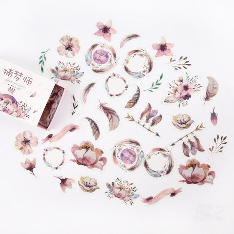 Watercolour Flower Feather and Foliage Matchbox Sticker Set - Pink - SweetpeaStore