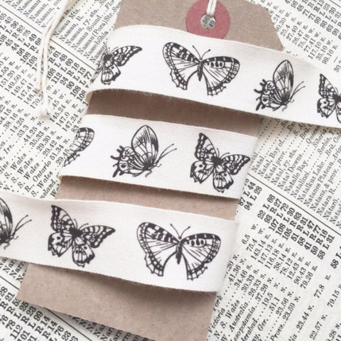 20mm Pretty Butterfly Cream Cotton Ribbon - SweetpeaStore