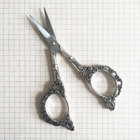 Pretty Silver Vintage Style Floral Embroidery Scissors - SweetpeaStore
