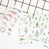 6 Sheets of Paper Peel-Off Floral Flower Botanical Leaf Inspired Stickers - SweetpeaStore