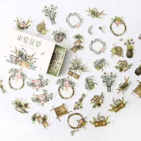 Pretty Watercolour Flower Wreath and Foliage Matchbox Sticker Set - Green - SweetpeaStore