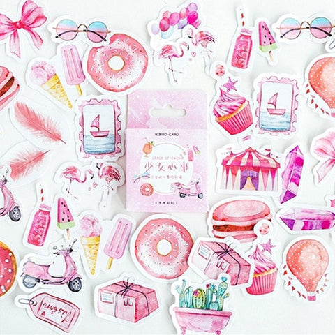 Set of 46 Pretty Pink Watercolour Mini Box Stickers - SweetpeaStore