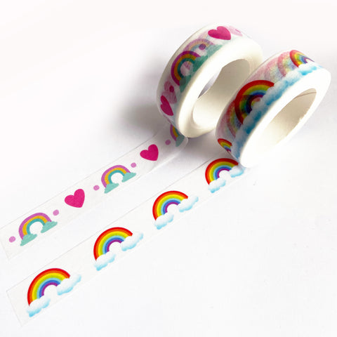 Rainbow Heart & Cloud Paper Washi Tape - 15mm x 10m - SweetpeaStore