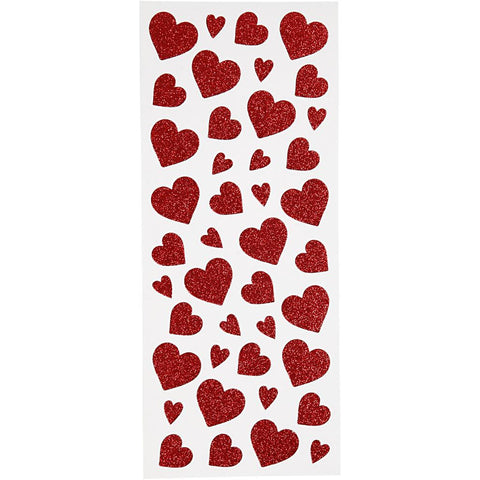 84 Red Glitter Heart Stickers - SweetpeaStore