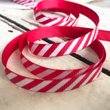 9mm Red & White Stripe Candy Cane Grosgrain Ribbon - SweetpeaStore