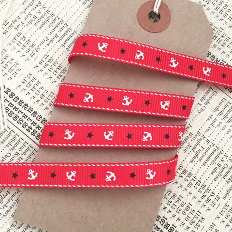 9mm Red Nautical Grosgrain Ribbon with Cream Anchor Navy Blue Star - SweetpeaStore