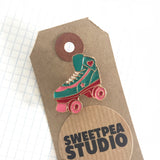 Retro 80s Roller Boot Enamel Gold Metal Pin Badge - SweetpeaStore