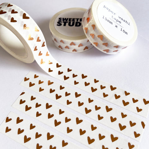 Rose Gold Foil Heart White Paper Washi Tape - 15mm x 10m - SweetpeaStore