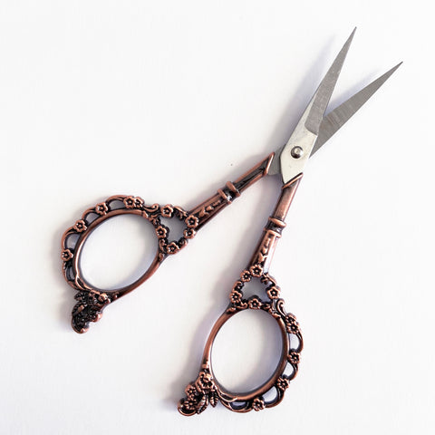 Pretty Rose Gold Embroidery Vintage Style Scissors - SweetpeaStore