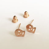 Brushed Rose Gold Plated Mini Skull Stud Earrings - SweetpeaStore