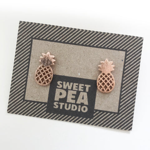 Chunky Kitsch Rose Gold Pineapple Earrings - SweetpeaStore