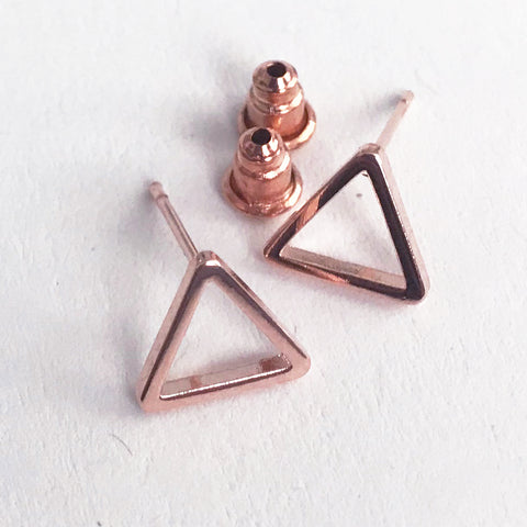 Rose Gold Geometric Triangle Modernist Stud Earrings - SweetpeaStore
