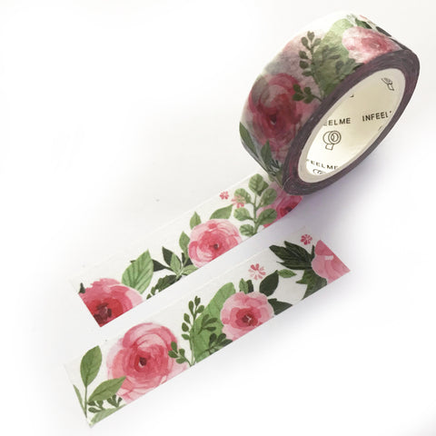 7m x 15mm Rosy Ranunculus Pink Floral Washi Tape - SweetpeaStore