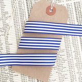 16mm Royal Blue & White Nautical Stripe Ribbon - SweetpeaStore