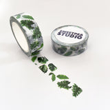 Green & White Rubber House Plant Paper Washi Tape - 15mm x 10m - SweetpeaStore