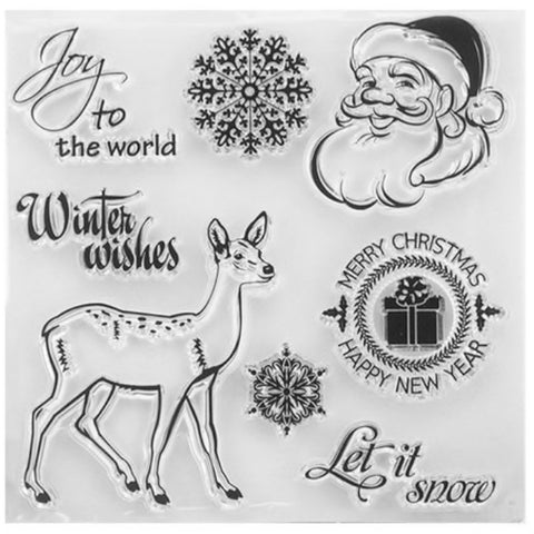 Christmas Clear Cling Stamp Set - Santa Snowflakes Deer Sentiments - 10cm x 10cm - SweetpeaStore