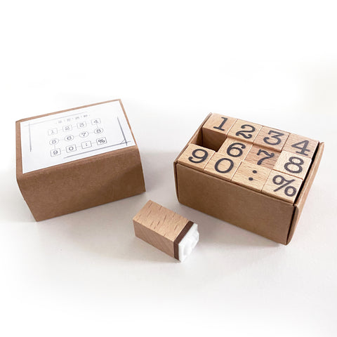 Set of 12 Wooden Number Stamps Set - 50mm x 40mm x 28mm