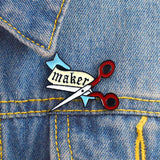 Black & Red Scissors Maker Enamel Pin Badge - SweetpeaStore