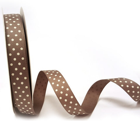 16mm Mocha Brown & White Polka Dot Spot Grosgrain Ribbon - SweetpeaStore