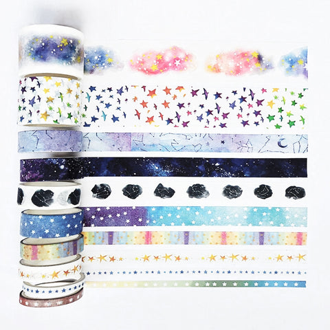 Set of 10 Celestial Star & Constellations Paper Washi Tape Set