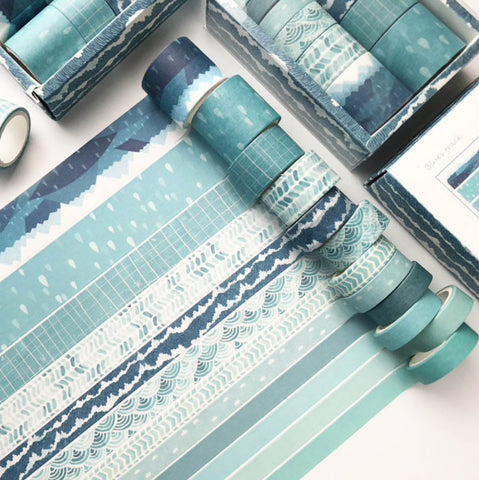 Set of 12 Blue Geometric Print & Solid Paper Washi Tape Set - SweetpeaStore