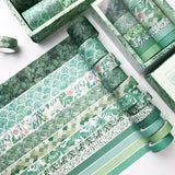 Set of 12 Green Plant and Floral Print & Solid Paper Washi Tape Set - SweetpeaStore