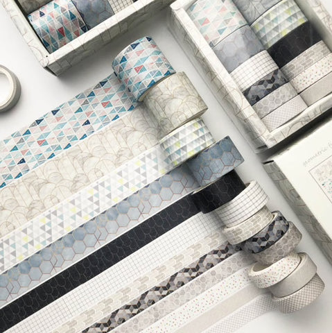 Set of 12 Grey Geometric Print & Solid Paper Washi Tape Set - SweetpeaStore