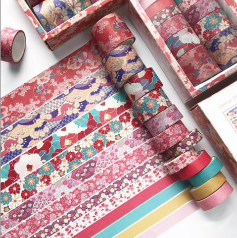 Set of 12 Red Floral Print & Solid Paper Washi Tape Set - SweetpeaStore