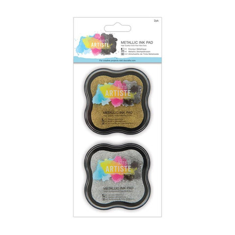 Gold & Silver Metallic Pigment Ink Pad Stamp - Set of 2 - Docrafts Artiste - SweetpeaStore