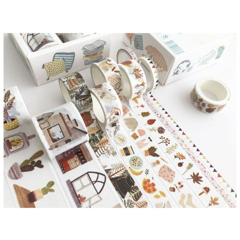 Set of 8 Autumn Nordic Home Hyyge Washi Tape