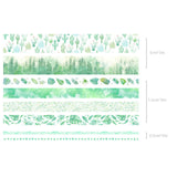 Set of 8 Tropical Green Plants Washi Tape - SweetpeaStore