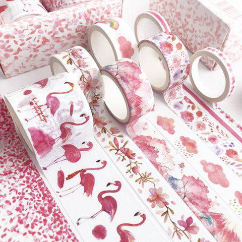 Set of 8 Pink Flower and Flamingo Summer Watercolour Washi Tape - SweetpeaStore