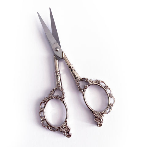 Pretty Silver Embroidery Vintage Style Floral Scissors - SweetpeaStore