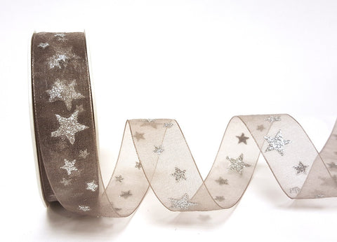 25mm Grey Sheer Organza & Silver Glitter Star Print Ribbon - SweetpeaStore