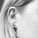 Triple Star Stainless Steel Black Earclimber Stud Earrings - SweetpeaStore
