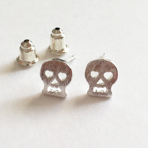 Brushed Silver Plated Mini Skull Stud Earrings - SweetpeaStore