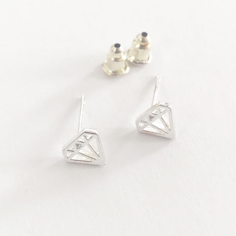 Silver Diamond Gem Shape Outline Stud Earrings - SweetpeaStore