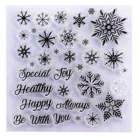 Christmas Snowflake & Sentiments Clear Stamp Set - 10cm x 10cm - SweetpeaStore