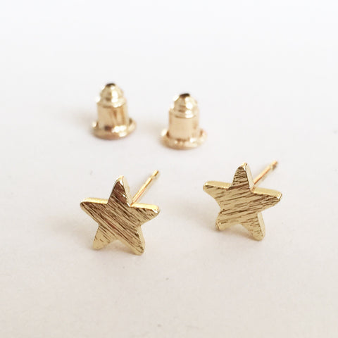 Brushed Gold Pretty Star Stud Earrings - SweetpeaStore