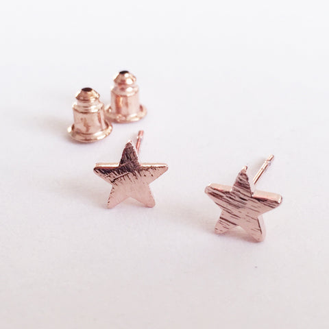 Brushed Rose Gold Pretty Star Stud Earrings - SweetpeaStore