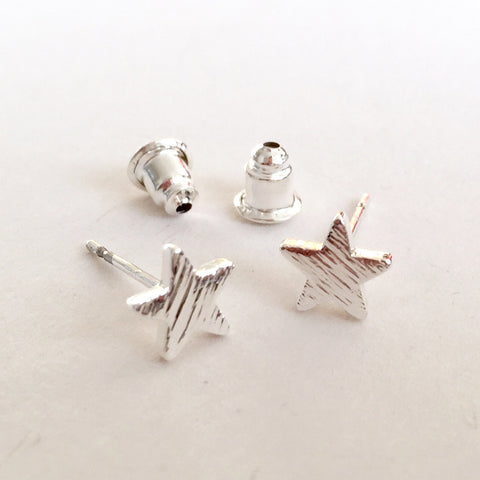 Brushed Silver Pretty Star Stud Earrings - SweetpeaStore