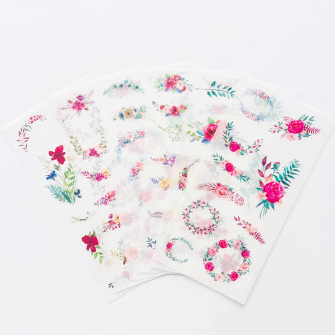 6 Sheets Pretty Summer Flower Floral Rose Garland Wreath Paper Peel-Off Stickers - SweetpeaStore
