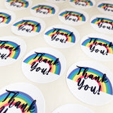 35 Thank You Rainbow Peel-off Stickers - White Gloss Paper - 37mm - SweetpeaStore