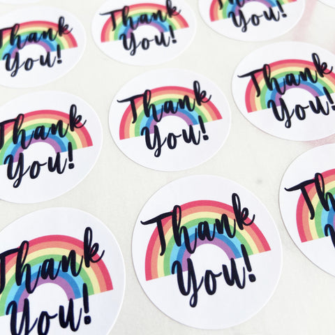 35 Thank You Rainbow Swirl Peel-off Stickers - White Gloss Paper - 37mm - SweetpeaStore