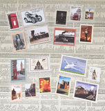 Set of 18 Vintage-Style Travel Stamp Stickers - Design 2 - SweetpeaStore