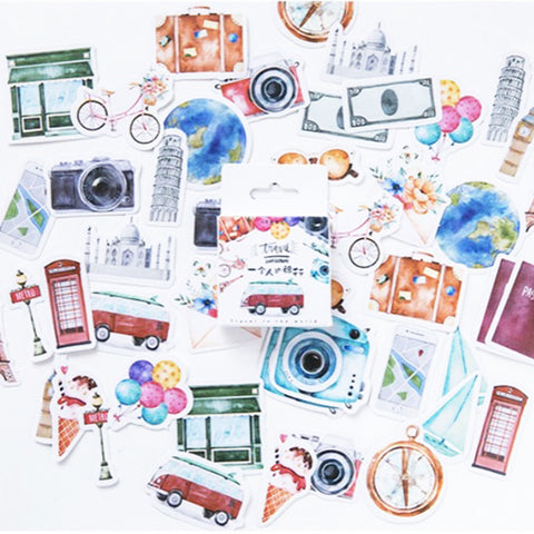 Set of 45 Watercolour Travel & Camera Inspired Journalling Stickers - SweetpeaStore